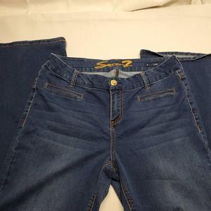 Seven7 Flare Jeans Size 12 Dark Wash EUC